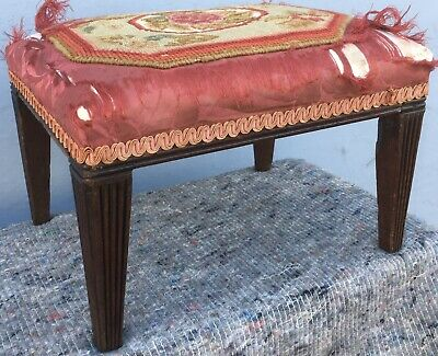 Small Antique Georgian Regency Mahogany Footstool Stool