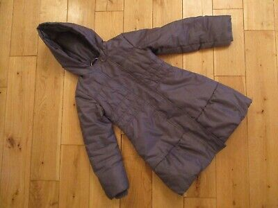 MARKS & SPENCER Girls Grey Padded Hooded Coat. Age 5-6 years.