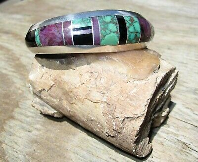 Navajo JIMMY POYER Sterling & Green Turquoise Inlay Bracelet w/Sugilite 6 1/8""