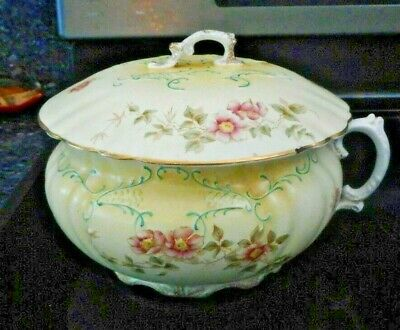 Antique Chamber Pot - Hand Painted Floral Design