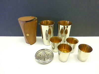 Vintage DRMG Germany Silver Plated COCKTAIL SHAKER Shot Cup Travel Leather Case