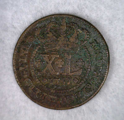 ANGOLA 40 REIS 1757 LARGE COPPER PORTUGAL COIN (Stock# 499)