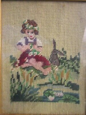 ANTIQUE NEEDLEPOINT PETIT POINT in GILDED WOOD FRAME GIRL and BUNNY by LILY POND