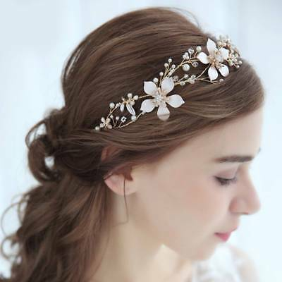 Gold Flower Wedding Bridal Headband Crystal Leaf Headpieces Hair Accessories
