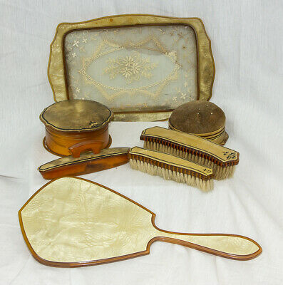 Antique Early 20th Century 7 Piece Celluloid Vanity Set (READ) EX