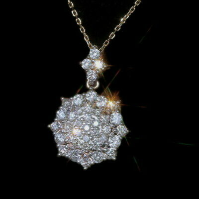 2Ct Natural Diamond 14K Yellow Gold Cluster Necklace EFFECT 5Ct PWG84