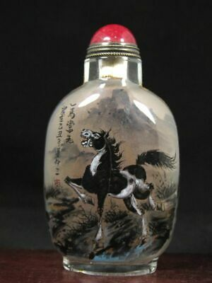 Chinese Horse Inside Hand Painted Glass Snuff Bottle