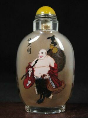 Chinese Buddhism Inside Hand Painted Glass Snuff Bottle