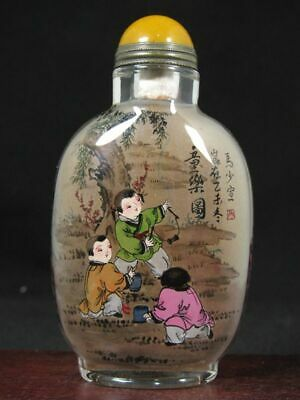 Chinese Six Boy Inside Hand Painted Glass Snuff Bottle