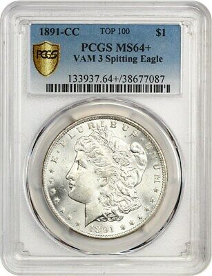 1891-CC $1 PCGS MS64+ (VAM 3, Spitting Eagle) Top 100 Scarce Date
