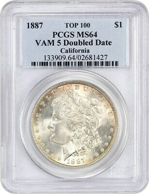 1887 $1 PCGS MS64 (VAM 5 Doubled Date) ex: California - Morgan Silver Dollar