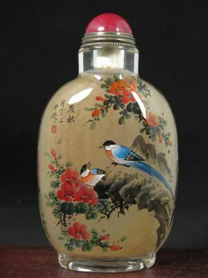 Chinese Flower Bird Hand Painted Glass Snuff Bottle