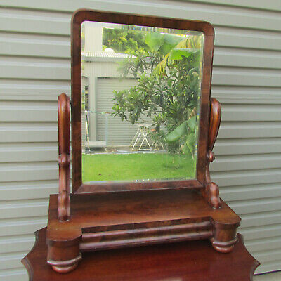 Victorian Mahogany Toilet Mirror With Wide Drawer And Pivoting Mirror c1865