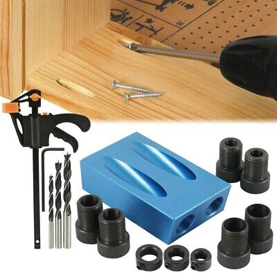 15pcs Pocket Hole Jig Kit Woodworking Guide Oblique Drill Angle Hole Locator