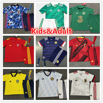 Kids Football Shirt Shorts Set MANCHESTER UNITED Soccer Sports Kit 3-13 Years