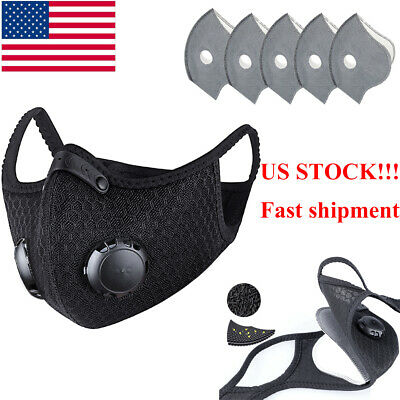 Cycling Riding Mask Unisex Adult Reusable Face Mask w/Activated Carbon Filter