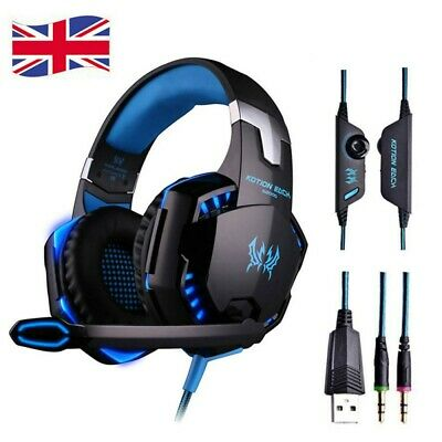 3.5mm Gaming Headset MIC LED Headphones for PC Laptop PS4 Slim Pro Xbox One UK