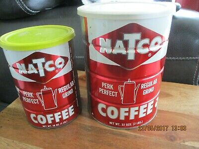 Vintage  2 LB & 1 pound NATCO Coffee Tin Can With Top