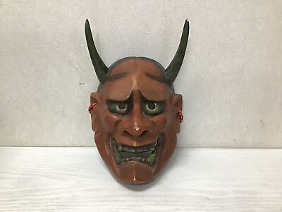 Y1120 NOH MASK Wood Carving ogress demon Japanese omen antique men Japan
