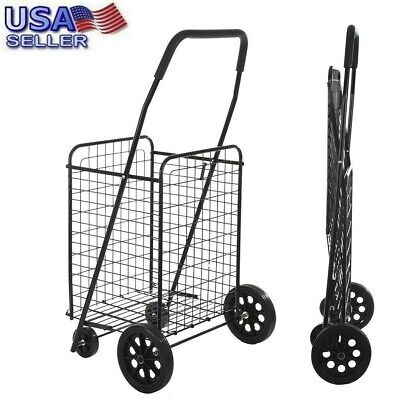 Folding Shopping Cart Jumbo Basket Grocery Laundry Travel w/ Swivel Wheels US