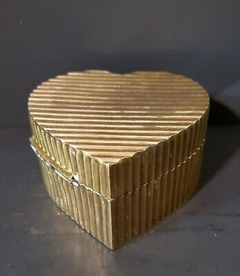 Vintage Solid Brass Heart Shaped Trinket Box with Hinged Lid. Made in India.