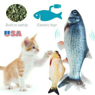 Electric Cat Wagging Fish Toy for Cats Biting Chewing and Kicking Catfish USA