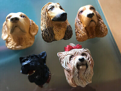 Bossons Collection Black Dog Chalkware England Vintage Head Lot Of 7