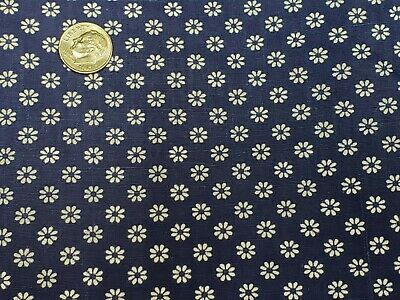 Vintage Cotton Fabric Quilt Sew Material Craft Floral Navy Blue 44x2.5 Yd Estate