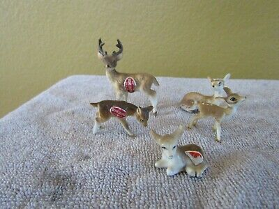 Miniature Mini Figurine Reindeer Family Set of 5 Bone China