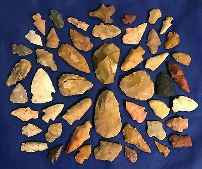 48 ASSORTED FIELD POINTS & PREFORMS Native American Arrowhead Artifacts