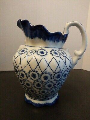 Beautiful Vintage Chinese Pitcher Vase Flower Design Blue and White Porcelain
