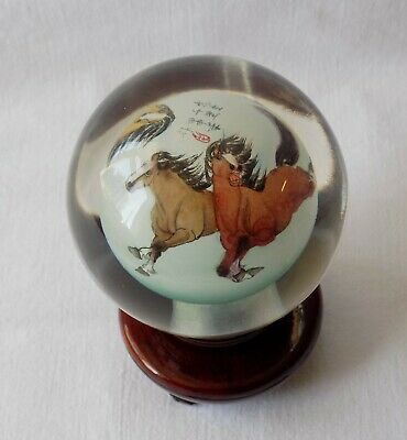 Vintage Chinese Style Inside Painted Glass Ball On Stand. Wild Horses. Signed