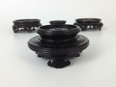 4 x Small Antique Chinese Carved Hardwood Stands- Vase Bowl Wood Display Vintage