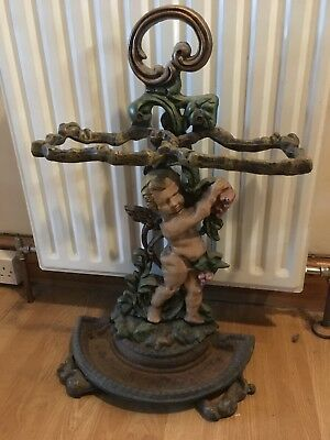 Ornate cherub angel victorian style cast iron umbrella stand