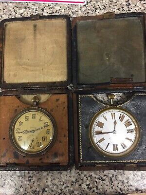 8 days Pocket Watch 1900 With Leather Cases