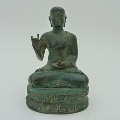 Antique Chinese Bronze Figure Of A Seated Monk Holding The Pearl Of Wisdom