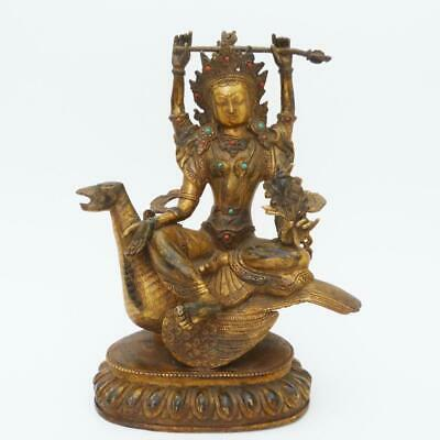 Antique Sino Tibetan Gilt Bronze Four-Armed Bodhisattva Inset With With Gems