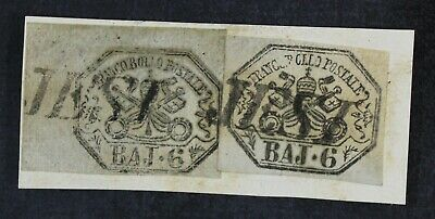 CKStamps: Italian Stamps Collection Roman States Scott#7 Used on Piece