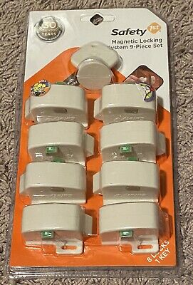 RARE Safety 1st Magnetic Locking System 9-Piece Set (8 locks, 1 key) NEW SEALED