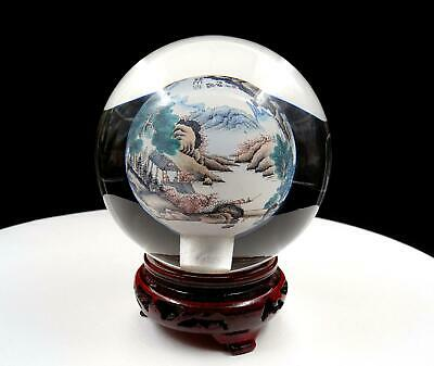 "Chinese Inside Reverse Painted Scenic Crystal 4 1/8"" Snuff Bottle & Stand"