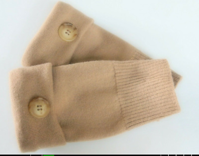 Fingerless Gloves Camel Brown 100% Merino Wool Women's Size Small - Medium S - M