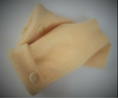 Fingerless Gloves Yellow Women's 100% Merino Wool Size S - M Small - Medium Text
