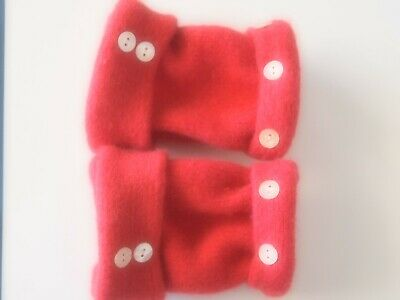 Fingerless Gloves Red Women's Angora Wool Short One Size Fits Most S M L Texting