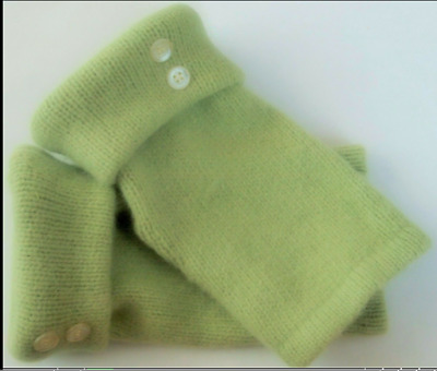 Fingerless Gloves Green Lime Angora Wool Women's  One Size Fits Most S M L Text