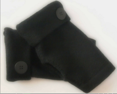Fingerless Gloves Black 100% Merino Wool Women's Size S - M Small - Medium Text