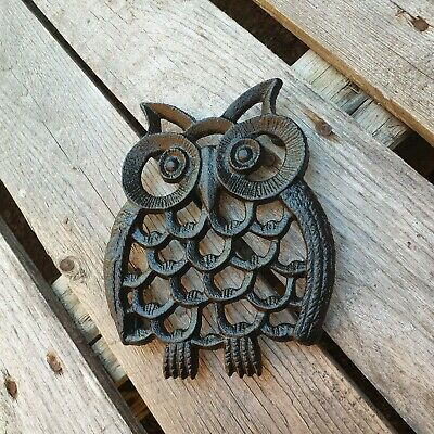 Cast Iron Owl Trivet Stand Kitchen Hot Plate Worktop Protector Animal Bird Black