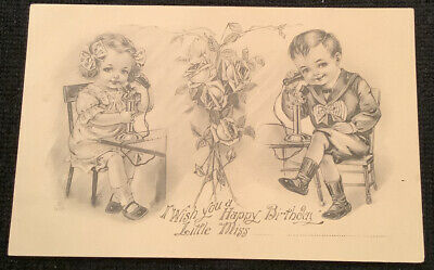 Charming Birthday Greetings Postcard Boy Girl Vintage Antique Telephones Roses