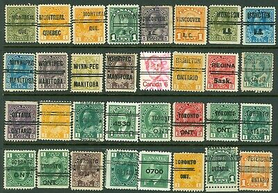 1 - Canada – Nice Selection of 32 Different Canadian pre Canceled Stamps