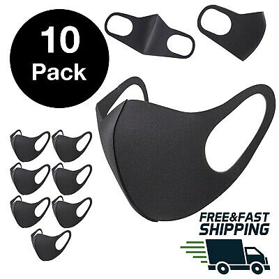 [10 Pack] Black Face Mask Breathable Washable 1 Layer Cloth Fabric Mouth Cover