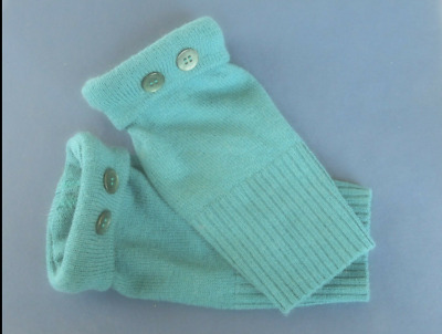 Fingerless Gloves Teal Green Women's 90% Merino Wool One Size Fits MostS M L